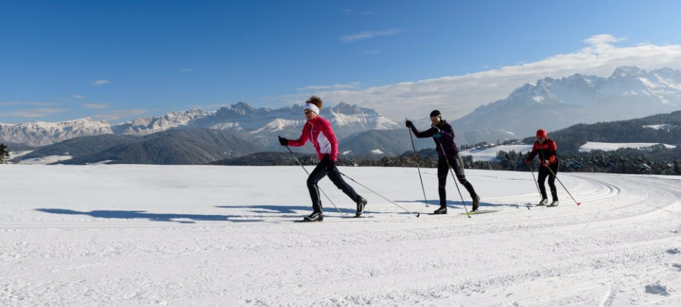 Cross-country skiing on Passo Lavazè