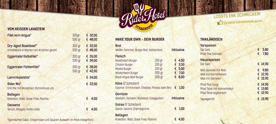 Rider Hotel Steakhouse Menu